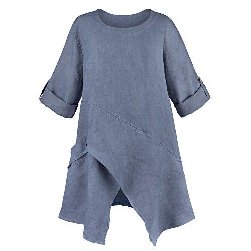 CATALOG CLASSICS Asymmetrical Hem Linen Tunic Top - Roll-Tab Sleeves Scoop Neck - Denim - Medium