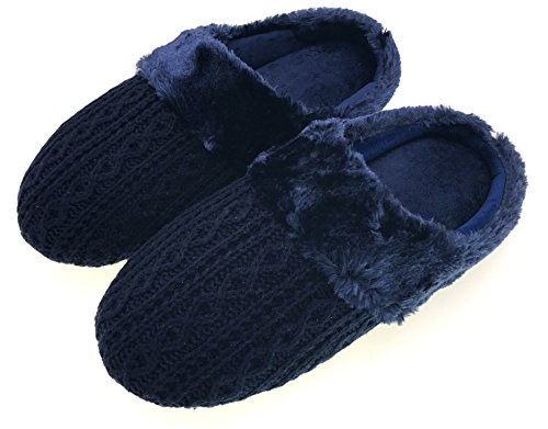MOGGEI Mens Fuzzy House Slippers Christmas Winter Warm Indoor Home Mens Slipper Knit Blue