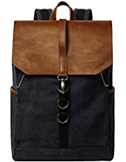 G-FAVOR Canvas Leather Backpack for Womens Mens, Laptop Backpack for 15.6 Inch Laptop, School Bag Travel Business Backpack Casual Daypack College University Book Bag