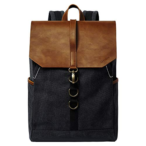 S-POINT Casual Backpack Water Resistant Vintage Canvas Laptop Backpack Unisex Daypack Travel Hiking Camping Rucksack Fit 15.6 Inch Laptop for men women