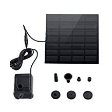 VicTsing Solar Bird Bath Fountain Pump, 1.4W Mini Outdoor Watering Submersible Pump Water Pump for Fish Tank, Pond, Garden Decoration (Floating Design, Reach Up 45 cm, Improved Nozzle, Solar-powered Brushless DC, Black, Square)