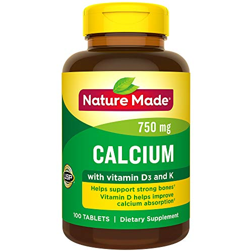 Nature Made Calcium 750 mg Tablets w. Vitamin D and K, 100 Ct for Bone Health† (Packaging May Vary) ()
