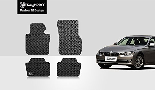 ToughPRO Floor Mats Set Compatible for (2012-2018) BMW 328i - All Weather - Heavy Duty - Black Rubber