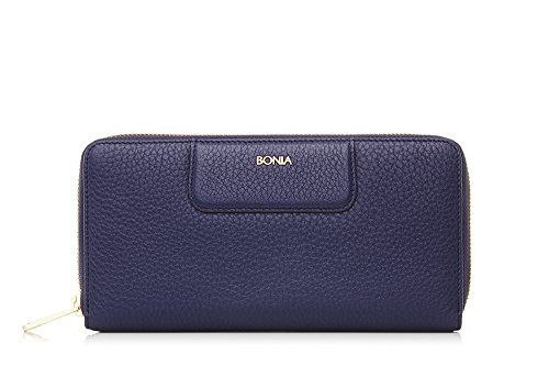 bonia-womans-navy-milled-zip-purse