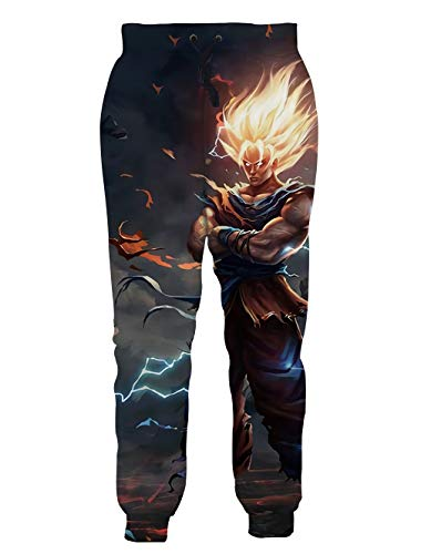 Ocsoc Cool Students Teenager Novelty Long Pants Japanese Anime Graphic Joggers Unisex Baggy Sweatpants with Elastic XXL,Graffiti
