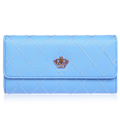 EUBags Womens Wallets Long Leather Trifold Wallet Ladies Purse Credit (Light Blue Leather Bags)