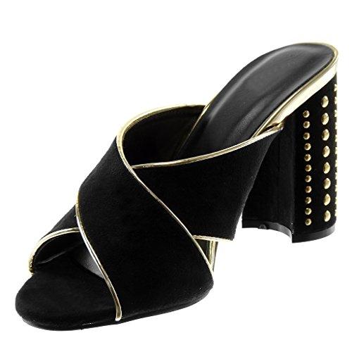 Femme Noir doré Talon Haut Chic on Croisées Mule 10 Bloc Escarpin Lanières CM Mode Slip Clouté Angkorly Chaussure 7f0qTw0P