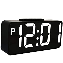 TXL LED Digital Alarm Clock with USB, 9.6 Large Dimmable LED Display Clock for Bedroom, Easy to Set 12 Hr Mode, Extra Large Impaired Vision Digital Clock without Adapter, Snooze for Gym Room/Office