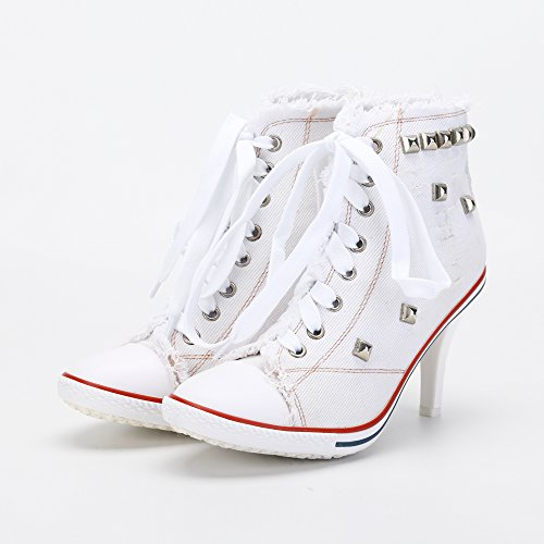 White Boots Fashion Up Sneakers Heel High Women's Ankle Lace Canvas Rivet fvzwqzAF4