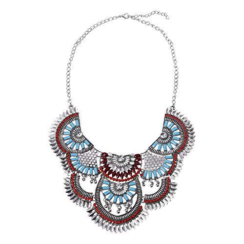 Paxuan Womens Antique Silver/Gold Alloy Vintage Colorful Boho Bohemia Turquoise Necklace Ethnic Tribal Beaded Necklace Chunky Choker Statement Necklace (Antique Silver) - Silver Tone Beaded Necklace