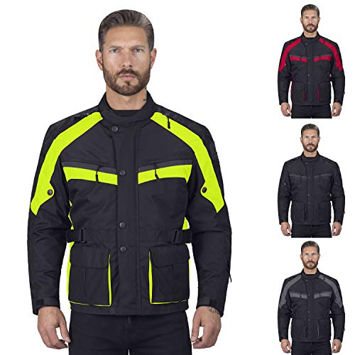 Viking Cycle Enforcer Armored Adventure Touring Textile Motorcycle Jacket for Men (Large, Green)