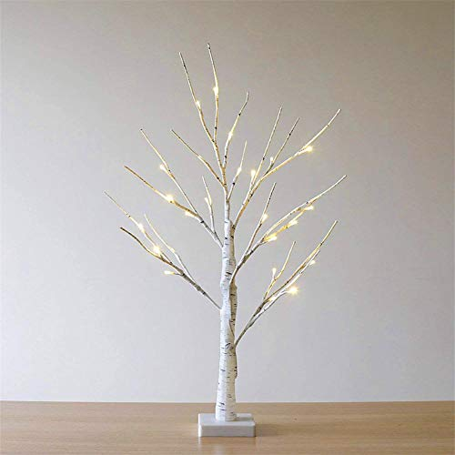 Yunn 60CM 24LED Warm White Battery Operated Birch Tree Light Tabletop Tree Light Jewelry Holder Decor for Home Party Christmas Wedding - Twig Jewelry Tree