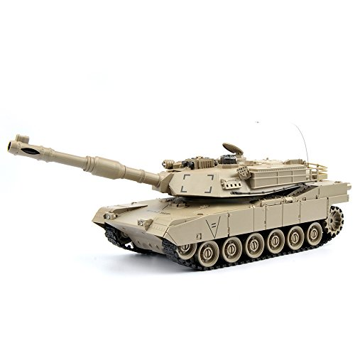 GizmoVine RC Fighting Battle Tank USA M1A2 1:28 - Remote Control Battling Tank Toys for Kids, Boys 27Mhz - Khaki (Remote Control Army Tank)
