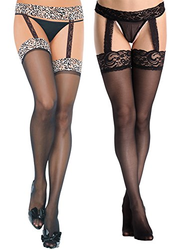 Florboom Lace Tight Sheer Pantyhose Suspender Stocking for Women with Garter Belts