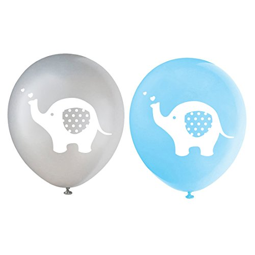 Blue Elephant Latex Balloons, 12 Inch (16pcs) Grey Boy Baby Shower or Birthday Party Decorations -