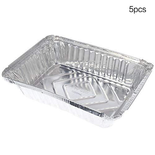 MEIYIN Disposable Lunch Box tin Tray Oven Pasta Box Bowl Takeaway Package Aluminum foil Box Rectangle Barbecue Products (Set of 5)