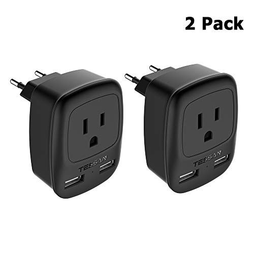 European Adapter 2 Pack, TESSAN USA to Most of Europe Travel Power Plug Adaptor with 2 USB Charging Ports - 3 in 1 Type C Europlug US to EU Italy Spain Iceland Outlet Adapter