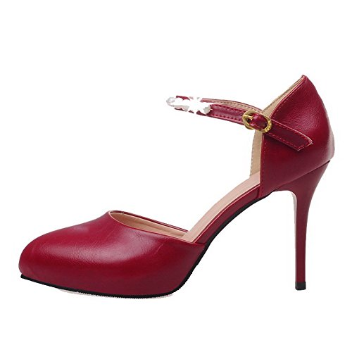 Red High Shoes Pumps Toe Heels PU Women's WeenFashion Buckle Solid Closed Pointed IqwxZHPB