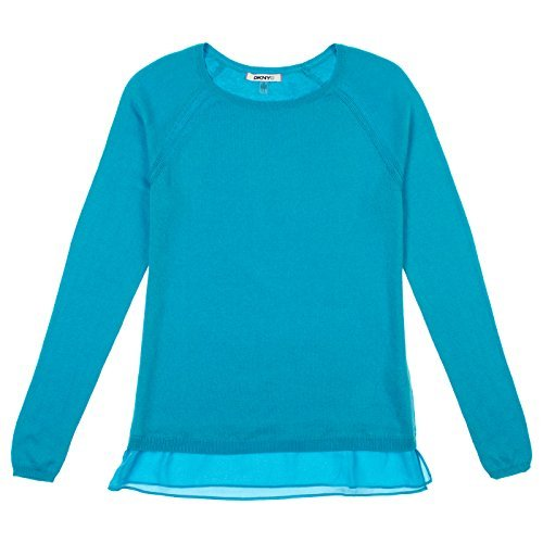 DKNY Jeans Womens Layered Look Long Sleeve Sweater S Turquoise ()