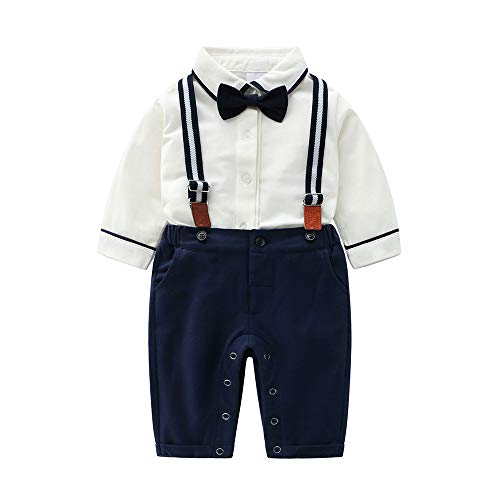 Shirt Bib Pants (Baby Boys Gentleman Outfits Suits, Infant Shirt+Bib Pants+Bow Tie+Suspender Overalls Clothes Set,3-6M Blue)