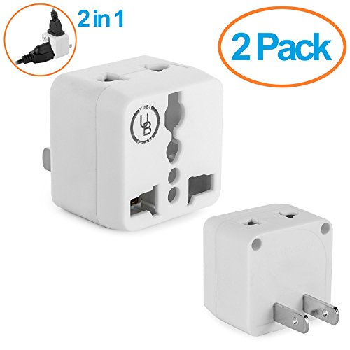 Yubi Power 2 in 1 Universal Travel Adapter with 2 Universal Outlets - 2 Pack White Built in Surge Protector Type A for U.S.A., Japan, China, Canada, Mexico, Puerto Rico, Jamaica, Thailand, and more