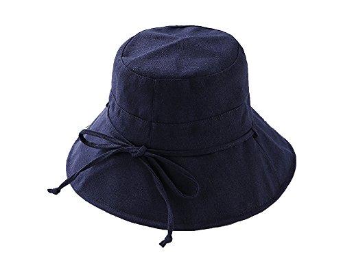Summer Hat Female Cotton Linen Hat Foldable Big Skull Hat Outdoor Sunscreen Sun Hat Tide,Navy Blue,M (56-58cm)