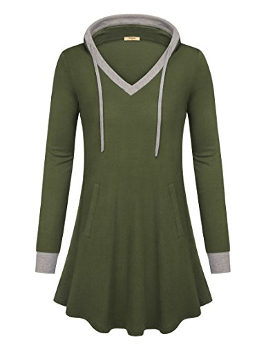 Timeson Women Hoody Shirts, Women's Hooded V Neck Tunic Tops Vintage Long Sleeve Versatile Pocket Hoodie Tunic Top for Girl for Christmas Army Green Medium -