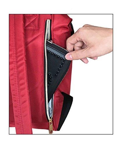 LCY impermeable muti-functional Oxford gamuza de pañales de bolsa mochila bolsa negro negro rosso