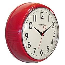 Westclox 32042R Retro 1950s Kitchen Wall Clock, 9.5, Red