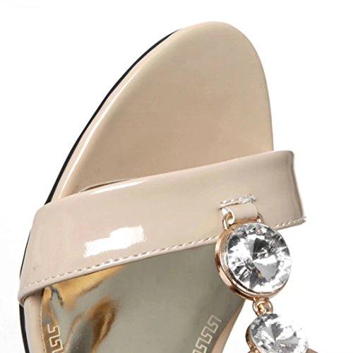 AIYOUMEI Offen Bequem Blockabsatz Schuhe Strass Absatz und mit Slippers Sandalen Damen Zehen 6cm Pumps Aprikose RrRxwZanq