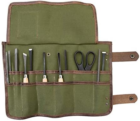 Hide Drink, Water Resistant Canvas Snap Tool Roll Up Bag 14 Slots , Portable Carry Case for Barbers, Salon Storage Organizer Pouch, Vintage Handmade Includes 101 Year Warranty Olive Canvas