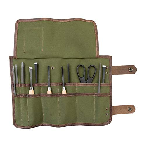 Snap Tool/Barber Roll Water Resistant Canvas Handmade by Hide & Drink :: Olive Canvas ()