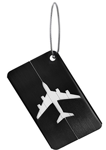 Personalized Luggage Tags Metal Engravable ID Tags Custom your Own Name Address Phone Number Plate Travel Suitcase Label Mark Aeroplane Baggage Handbag Anti-lost ID Tag (Black)