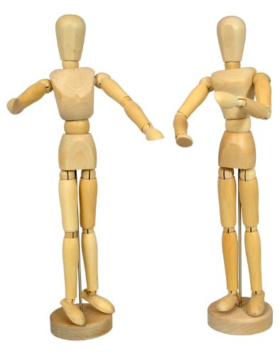US Art Supply Wood 12'' Artist Drawing Manikin Articulated Mannequin with Base and Flexible Body - Perfect For Drawing the Human Figure (12'' Pair - Male & Female) by US Art Supply