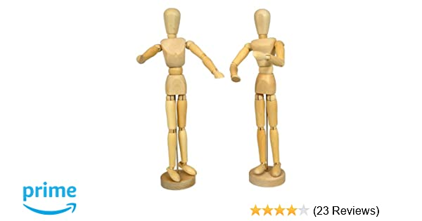 US Art Supply Wood 8 Artist Drawing Manikin Articulated Mannequin with Base and Flexible Body 8 Male Perfect For Drawing the Human Figure