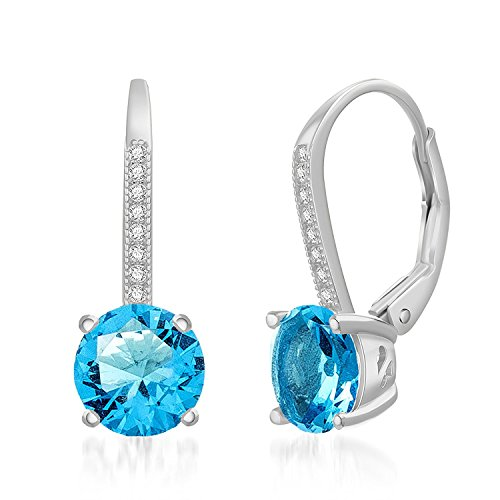 - LESA MICHELE Round Light Blue Simulated Topaz & CZ Drop Leverback Bridal Gift Earrings for Women in Rhodium Plated 925 Sterling Silver (Imitation December Birthstone)