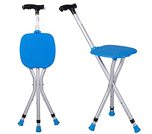 G&M The elderly man with A Crutch Stool Tripod Seat Stick Multifunction With lights Folding Walking Aid Cane Chair , blue
