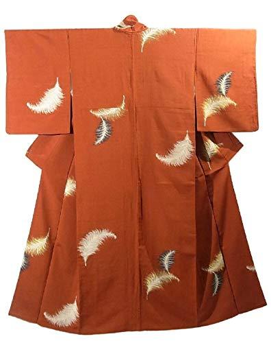 信頼遺体安置所アプライアンスリサイクル 着物 お召 鳥の羽根のような文様 裄62cm 身丈151cm 袷