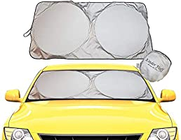kinder Fluff Windshield Sun Shade -Sunshades Made 210T Fabric Possible Maximum UV Sun Protection –Car Shades That Keep...