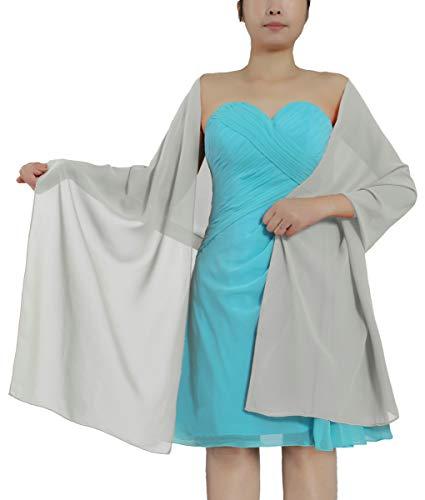 ANTS Women's Chiffon Bridal Evening Dresses Shawl Wraps Color Silver Size ()