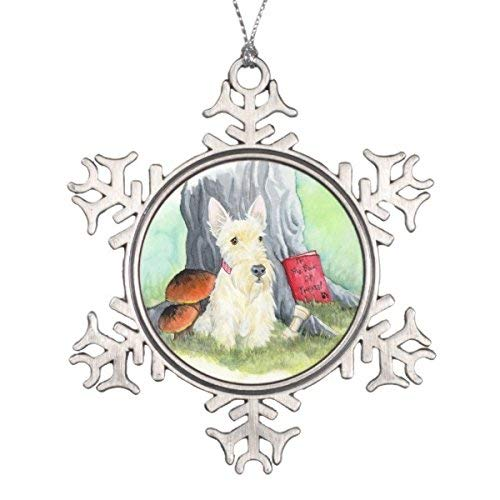 Dozili Christmas Wheaten Wiggles in The Wood Snowflake Pewter Christmas Ornament