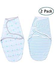 Festnight Baby Swaddle Wrap Blanket 2 Pack Soft Cotton Cartoon Pattern Adjustable Infant Sleeping Blankets (Large 5-7 Month)