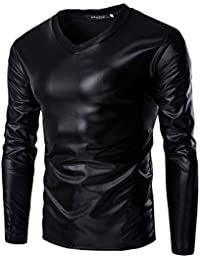 CIC Collection Mens Trend Metallic Slim Fit V-neck Long Sleeve T shirts