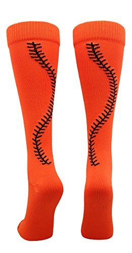 MadSportsStuff Softball Socks with Stitches Over The Calf (Orange/Black, Small) ()