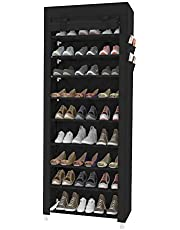 ACCSTORE Tall Shoe Rack 9-Tier Shoe Shelf Hode up to 27 Pairs Shoes with No-Woven Fabric Cover,Black