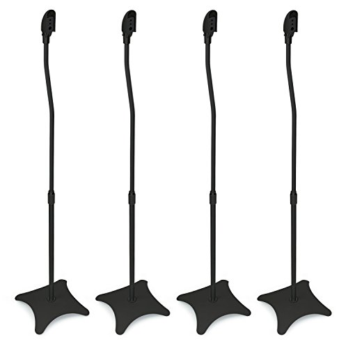 Mount-It! MI-1214 Speaker Stands for Home Theater 5.1 Channel Surround Sound System Satellite Speaker Stands Mounts, Rear and Front, 2 Pairs, 10 lb Capacity, Black (Renewed)
