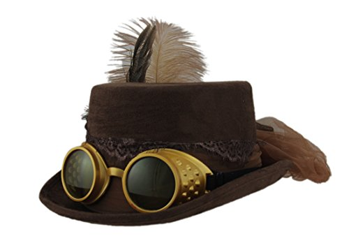 Victorian Gothic Lace Trim Steampunk Hat with Feathers Tulle and Goggles Brown ()