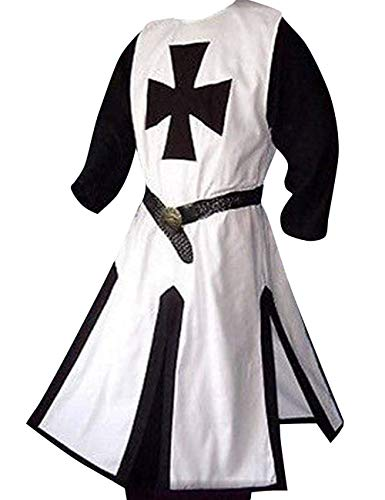 Taoliyuan Mens Medieval Crusader Costume Templar Knight Warrior Cloak Coat Robe Halloween Retro Cosplay (Templar Cloak)