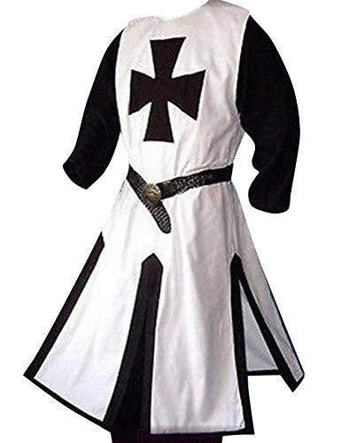 Mens Medieval Crusader Templar Knight Surcoat Cloak Renaissance Warrior Cosplay Costumes