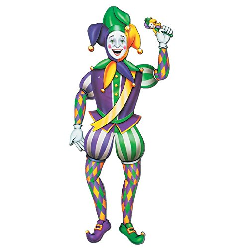 Club Pack of 12 Green, Purple and Gold Jointed Mardi Gras Jester Cutout Decorations 38